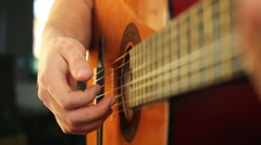 Finger style guitar playing Stock Footage