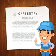 Carpentry Background with Workman Stock Illustration