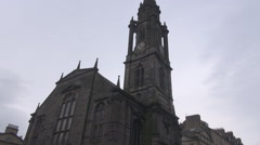 Stock Video Footage of Royal Mile street in Edinburgh Scotland, road to castle, the tron kirk church