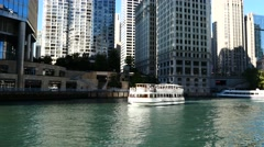 City Chicago and Chicago River. Stock Footage