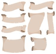 Parchment Scroll And Banners Set Stock Illustration