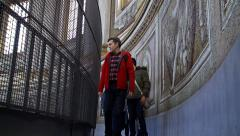 Visitors inside Dome of the St. Peter's Basilica, Vatican. Stock Footage