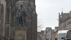 Adam Smith statue in Edinburgh capital of Scotland, Scottish tourism attraction - stock footage
