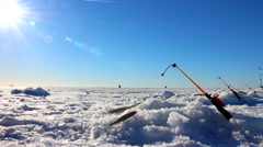 Ice fishing episode with fishing rod Stock Footage
