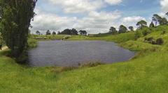 Big lake in hobbiton Stock Footage