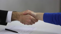 Handshake between business people - stock footage