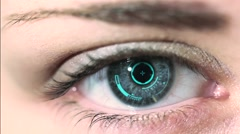 Close-up of woman's eye. New technologies and futuristic concept Stock Footage