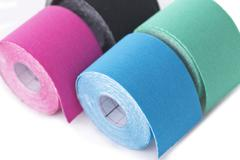 variety of therapeutic self adhesive tapes, taping kinesiologico - stock photo