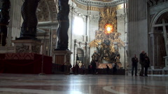 Visitors at the Chair & Baldachin of Saint Peter Stock Footage