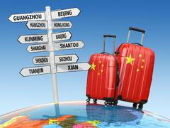 Travel concept. Suitcases and signpost what to visit in China. - stock illustration