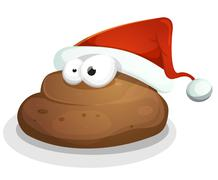 Funny Dung With Santa Hat Stock Illustration
