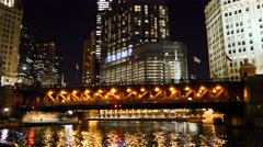 Trump Hotel Chicago and Chicago River. Stock Footage