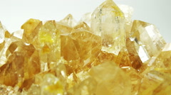 Stock Video Footage of Citrine semigem geode crystals geological mineral isolated