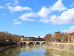 Bridge on the River Tiber systems. Rome, Italy. TimeLapse. 640x480 Stock Footage