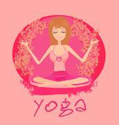 Yoga girl in lotus position - stock illustration