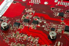 Electronic collection - Electronic components on the PCB - stock photo