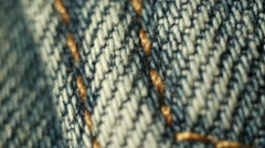 jeans stitch. sewing line. macro - stock footage