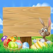 Easter Bunny Egg Hunt Sign - stock illustration