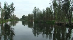 Float near Chinampa at Xochimilco lake canal, Mexico - stock footage