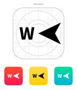 West direction compass icon - stock illustration
