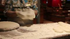Kneading dough on marble board. Egypt. Stock Footage