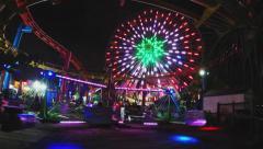 Santa Monica Pier Amusement Park Rides At Night - stock footage