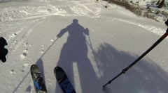 Freeriding skier mountains riders point of view Stock Footage