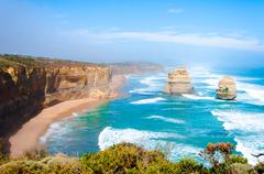 The Twelve Apostles  by the Great Ocean Road in Victoria, Australia Stock Photos