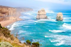 The Twelve Apostles  by the Great Ocean Road in Victoria, Australia - stock photo