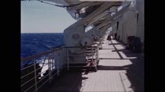 Deck of Queen Elizabeth Cruise Ship - 2 Stock Footage