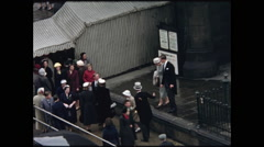 Close Up Wedding Guests Arrive at St. John's Church Edinburgh 1957 Stock Footage
