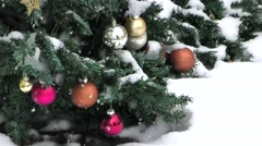 Christmas tree ornaments snowfall, slow motion Stock Footage