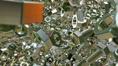 Abstract metallic bolts and nuts - stock footage
