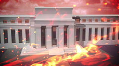 Federal reserve building on fire burn burning Stock Footage