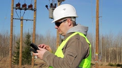 Electrical engineer working with tablet PC - stock footage