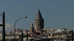 Galata Tower in Istanbul Turkey Stock Footage