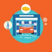 Business concept car wash best clean non stop auto service Stock Illustration