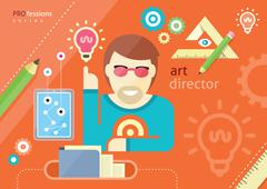 Creative people design occupations art direction employment - stock illustration