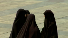 Islamic women in full hajibs - stock footage
