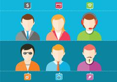 Business set of stylish avatars woman girls and man guys Piirros