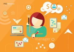 Manager profession. Workplace office desk Stock Illustration