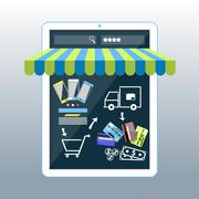 Stock Illustration of Internet shopping concept smartphone with awning