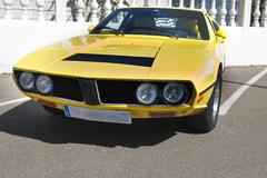 Yellow seventies sports car Stock Photos