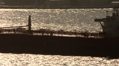Beautiful Silhouette Crude Oil Tanker on glistering bosphorus Stock Footage