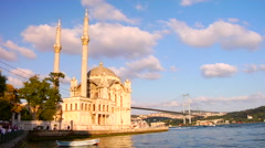 Ortakoy mosque and Bosphorus bridge, Istanbul, Turkey Timelapse Stock Footage