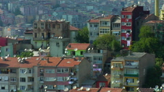 Satellite Dishes, homes Istanbul Turkey, colorful buildings Istanbul Stock Footage