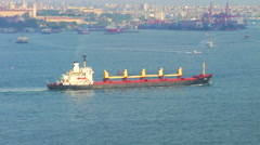 Freighter before Istanbul Skyline, Turkey - stock footage