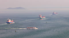Freighters, cargo ships sailing into open sea Bosphorous  Stock Footage