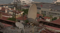 Satellite Dishes Rooftop Istanbul Buildings Stock Footage