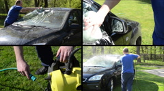 Man wash car with sponge and high pressure tool. Video collage Stock Footage